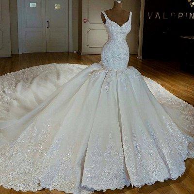 Stunning Mermaid Beading Lace Straps Appliques Wedding Dresses_2
