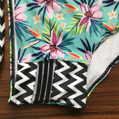 Floral Printed Wireless Padded Straps Sexy Bikinis_7
