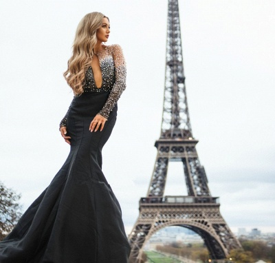 Glamorous Sheer-Mesh Appliques Sexy Mermaid Black Prom Dress with Long Sleeves_4