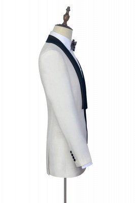 White Shawl Collar Single Breasted Wedding Suit | New Arrival 2 Pocket Custom Suit For Men_5