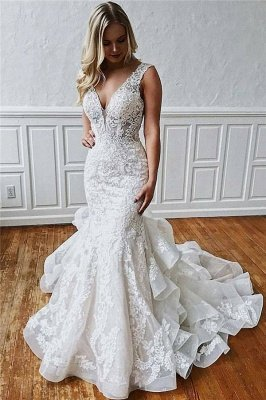 Lace V-Neck Sexy Mermaid Wedding Dresses | Ruffles Sleeveless Backless Floral Bridal Gowns