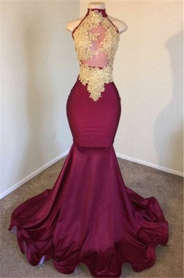Burgundy High-Neck Applique Sleevless Sexy Mermaid Prom Dresses_1