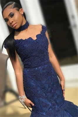 Navy Blue Off-The-Shoulder Beaded Appliques Mesh Sexy Mermaid Prom Dresses_2