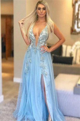 Blue Strpas V-Neck Appliques Tulle A-Line Prom Dress