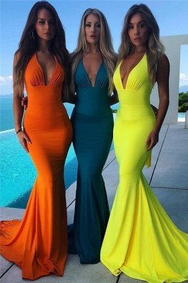 Sexy Halter Sleeveless Backless Bowknot Sexy Mermaid Prom Dress