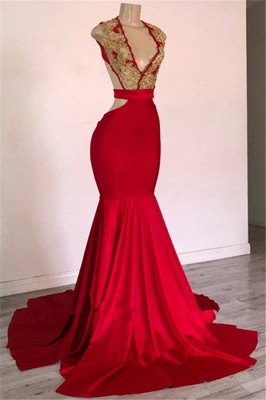 Burgundy Straps Appliques Backless Sexy Mermaid Prom Dresses_1