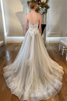 Stunning Sweetheart Lace Appliques Wedding Dresses_2