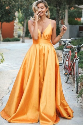 Gorgeous Orange Spaghetti-Straps Sleeveless V-Neck  Prom Dress