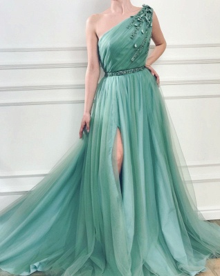 Gorgeous Appliques One-Shoulder Side Slit  A-Line Prom Dresses_2