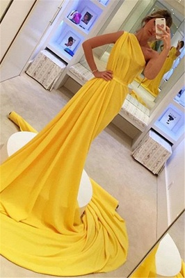 Gorgeous Yellow One-Shoulder Sleeveless Long A-Line Prom Dress_1