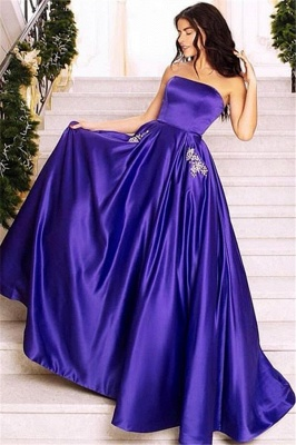 Glamorous Purple Strapless Sleeveless Long  Prom Dress
