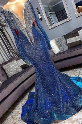 Luxurious Sequins Long Sleeves Sexy Mermaid Sheer Neckline Prom Dresses_2