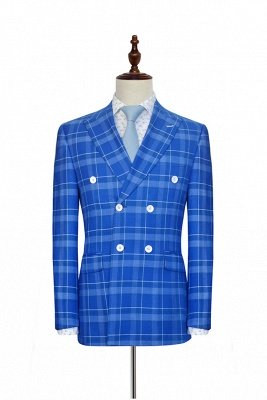 2019 Blue Grid Double Breasted Custom Suit For Men | Modern Peak Lapel 2 Pockets Wedding Suit For Groom_1