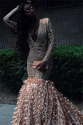 Glamorous Lone-Sleeves V-Neck Applique Long Sexy Mermaid Prom Dresses_2