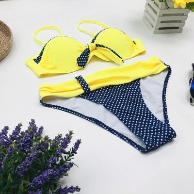 Yellow Sweetheart Spaghetti Two Piece Sexy Bikini Sets_4