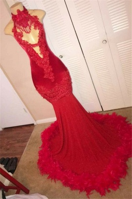 Red Halter Sleeveless Feather Applique Sexy Mermaid Evening Gown_1