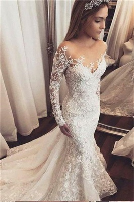 Fashionable Off-the-Shoulder Beaded Lace Appliques Wedding Dresse_1
