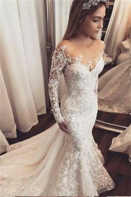 Fashion Beads Lace Appliques Off-the-Shoulder Wedding Dresses | Ruffles Longsleeves Floral Bridal Gowns