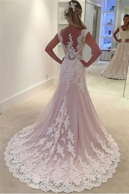 Lovely Pink Lace Appliques Wedding Dresses_2