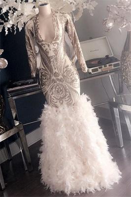 Glamorous Appliques Fur V-Neck Long Sleeves Sexy Mermaid Prom Dresses_2