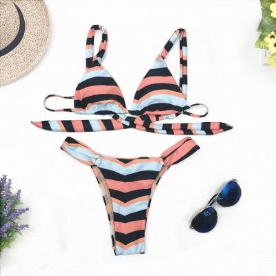 Stripes Criss-cross Triangle Bras Two Piece Sexy Bikini Swimwear_5