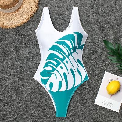 V-neck White One Piece Prints Leaves Swimwear_3