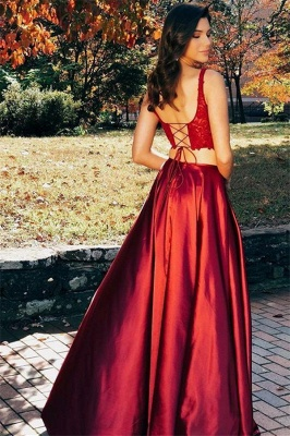 Burgundy Straps Side Slit Two-Piece A-Line Prom Dresses_2