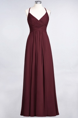 A-Line Spaghetti-Straps V-Neck Sleeveless Floor-Length  Bridesmaid Dress with Ruffles_10
