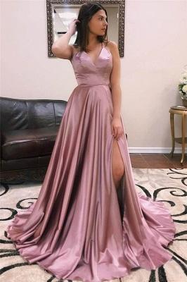 Glamorous Spaghetti-Straps V-Neck Side Slit A-Line Prom Dresses_1