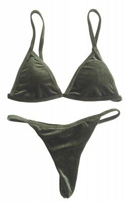 Velvet Triangle Pads High Waist Bikini Swimsuits_4