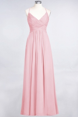 A-Line Spaghetti-Straps V-Neck Sleeveless Floor-Length  Bridesmaid Dress with Ruffles_4