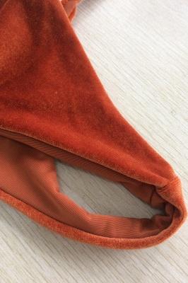 Velvet Triangle Pads High Waist Bikini Swimsuits_8