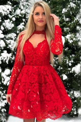 Red Lace Long Sleeves A-Line Short-Length Homecoming Dresses_1