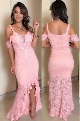 Pink Lace Appliques Off-The-Shoulder Hi-Lo Sexy Mermaid Prom Dresses_1