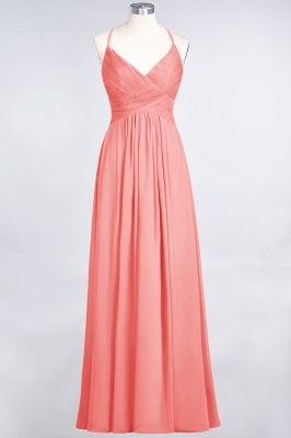 A-Line Spaghetti-Straps V-Neck Sleeveless Floor-Length  Bridesmaid Dress with Ruffles_7