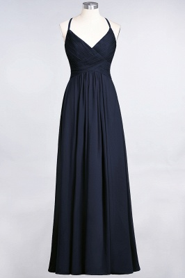 A-Line Spaghetti-Straps V-Neck Sleeveless Floor-Length  Bridesmaid Dress with Ruffles_27