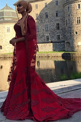 Burgundy Lace Appliques Jewel Neck Long Sleeves Sexy Mermaid Prom Dress_2