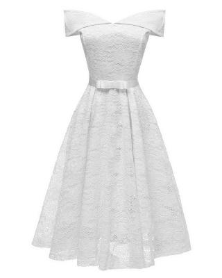Retro Lace Off-the-shoudler Dress Elegant Cocktail Party Cap Sleeve A Line Vintage Dress_1