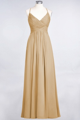 A-Line Spaghetti-Straps V-Neck Sleeveless Floor-Length  Bridesmaid Dress with Ruffles_13