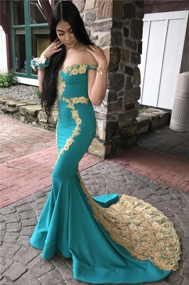 Glamorous Off-The-Shoulder Appliques Sexy Mermaid Prom Dresses_1