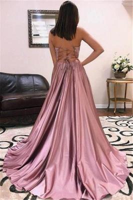 Glamorous Spaghetti-Straps V-Neck Side Slit A-Line Prom Dresses_2