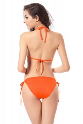 Simple Halter Triangle Pads Two-piece Bikini Sets_38