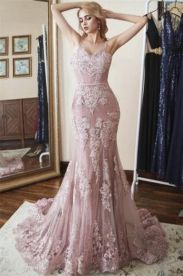 Glamorous Spaghetti-Straps Appliques  Sexy Mermaid Prom Dresses_1