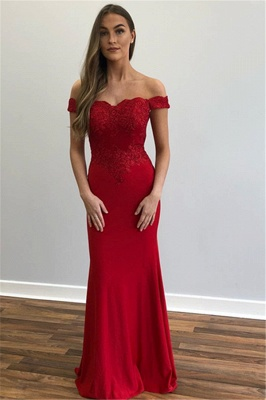 Glamorous Off-The-Shoulder Appliques Sexy Mermaid Prom Dresses_2