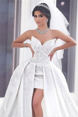 Lace Puffy Strapless Overskirt Glamorous Appliques Ball-gown Wedding Dress_3