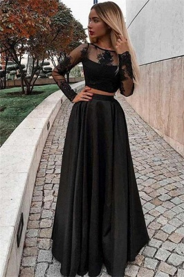 Sheer Two Pieces A-Line Sexy Black Prom Dresses with Long Sleeves_1