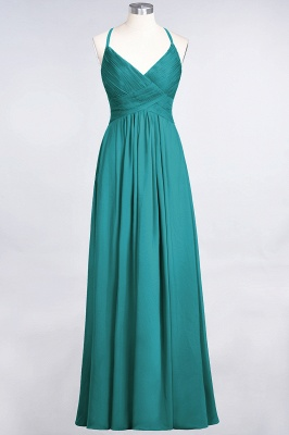 A-Line Spaghetti-Straps V-Neck Sleeveless Floor-Length  Bridesmaid Dress with Ruffles_31