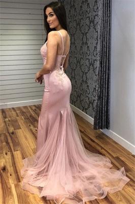 Glamorous Straps Appliques V-Neck Sexy Mermaid Prom Dresses_5