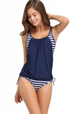 Streaks One-piece Side-cut Scoop Spaghetti Swimsuits_13