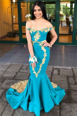 Glamorous Off-The-Shoulder Appliques Sexy Mermaid Prom Dresses_3